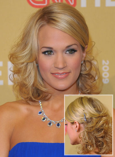 Carrie Underwood Blonde Curly Prom Hairstyle
