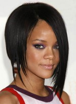 Long, Black Hairstyles for Diamond Faces