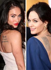 celebrity tattoo megan fox angelina jolie