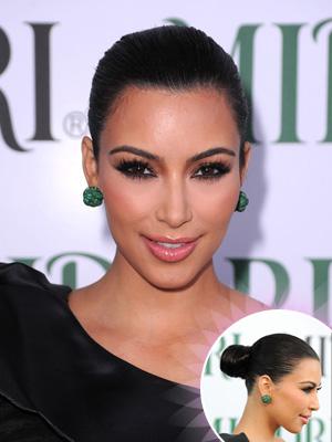 kim kardashian bun hairstyle
