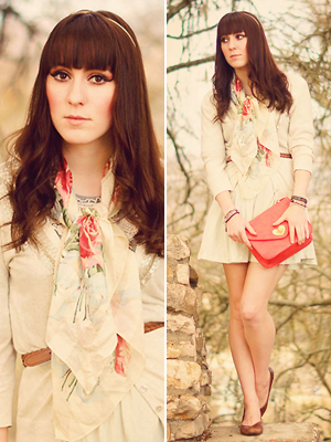 neutral, floral print, romantic outfit with coral clutch for valentines day