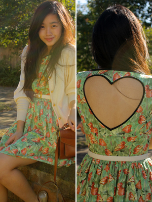 floral dress with heart cut-out on the back valentine's day outfit