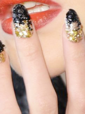 crystal leather glitter nail art
