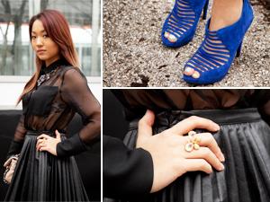 fashion week street style sheer black pleated