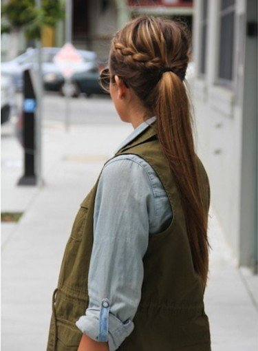Pony Tail With Braid: 2 Ways