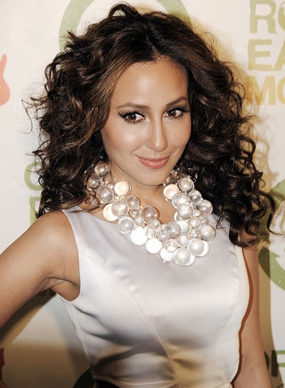 Adrienne Bailon Long, Curly, Brunette Hairstyle