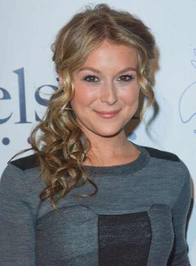 Alexa Vega Medium, Curly, Romantic, Blonde Hairstyle