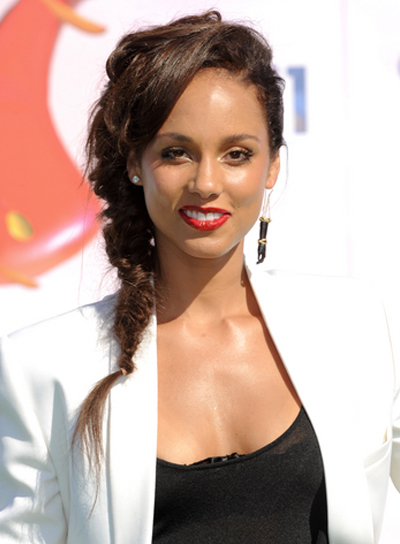 Alicia Keys Medium, Edgy, Chic, Brunette Hairstyle with Braids and Twists