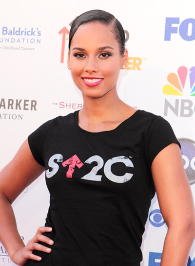Alicia Keys' Chic, Sophisticated, Brunette, Updo Hairstyle