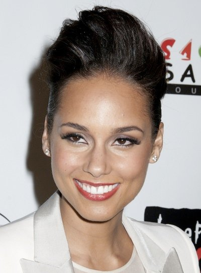 Alicia Keys Edgy, Tousled, Sexy, Black Updo