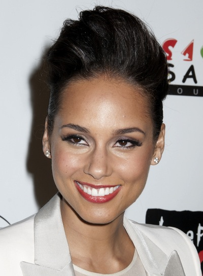 Alicia Keys Edgy, Tousled, Sexy, Black Updo