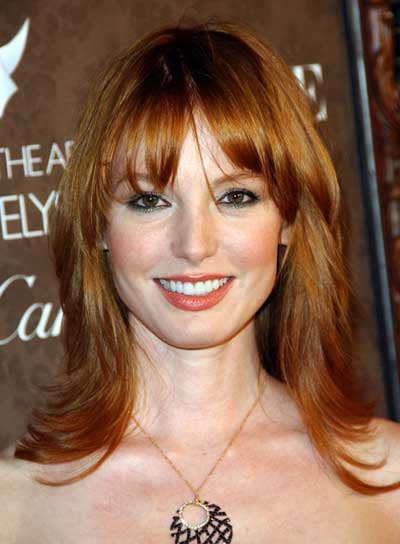 Alicia Witt Medium, Layered, Straight, Red Hairstyle with Bangs