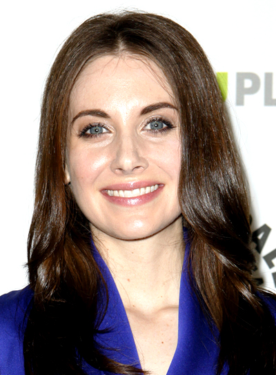 Alison Brie's Brunette, Chic, Long, Straight Hairstyle