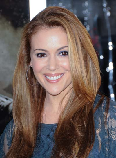 Alyssa Milano Long, Straight, Brunette Hairstyle