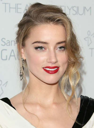 Amber Heard Curly, Blonde, Romantic, Updo Hairstyle