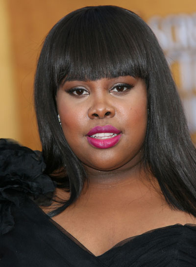 Amber Riley Straight, Black, Sophisticated Hairstyle with Bangs