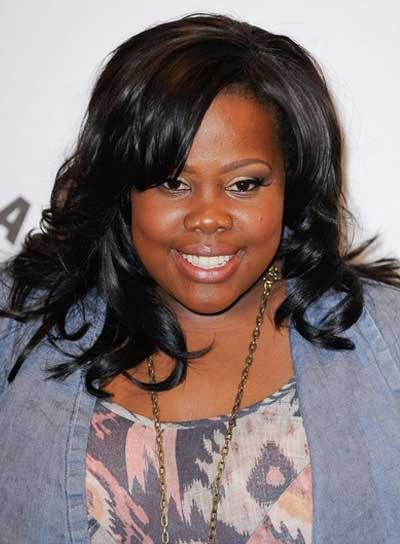 Amber Riley Medium Curly, Sexy Hairstyle with Bangs