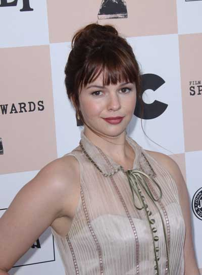 Amber Tamblyn Chic, Brunette Updo With Bangs