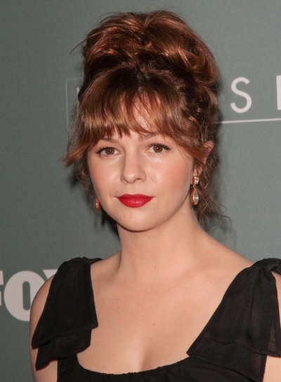 Amber Tamblyn's Tousled, Funky, Brunette, Updo Hairstyle with Bangs