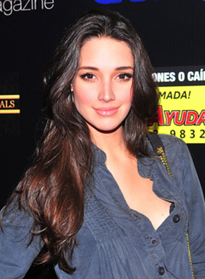 Amelia Vega Long, Sexy, Brunette Hairstyle with Highlights