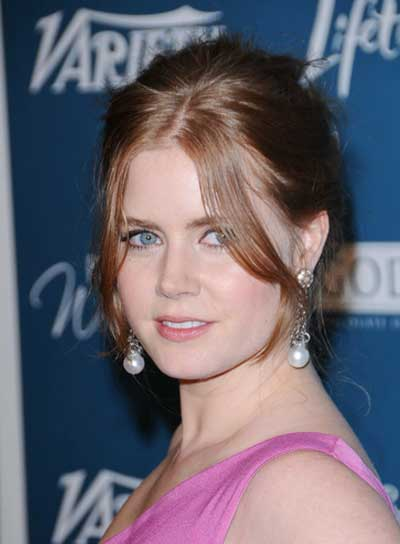 Amy Adams Chic, Red Updo with Bangs
