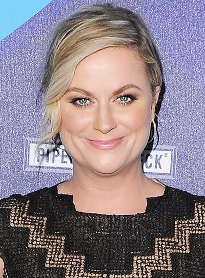 Amy Poehler with a Medium, Blonde, Formal, Updo Hairstyle