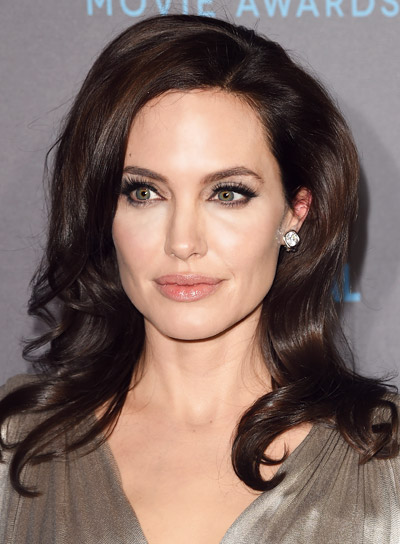 Angelina Jolie with a Brunette, Long, Curly, Romantic Hairstyle Pictures
