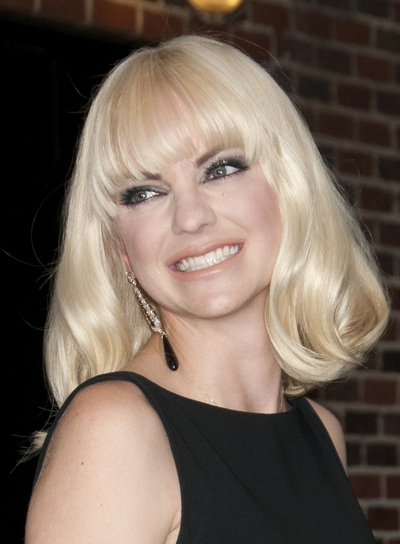 Anna Faris Medium, Wavy, Romantic, Blonde Hairstyle with Bangs