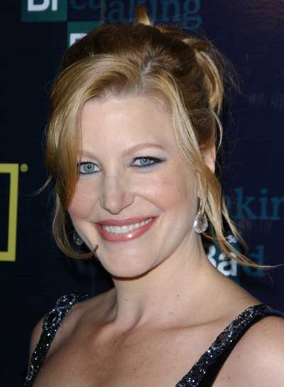 Anna Gunn Straight, Tousled, Blonde Updo with Bangs