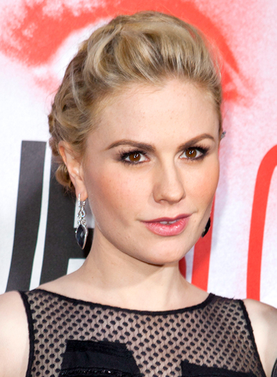 Anna Paquin's Sophisticated, Blonde, Updo Hairstyle with Braids and Twists