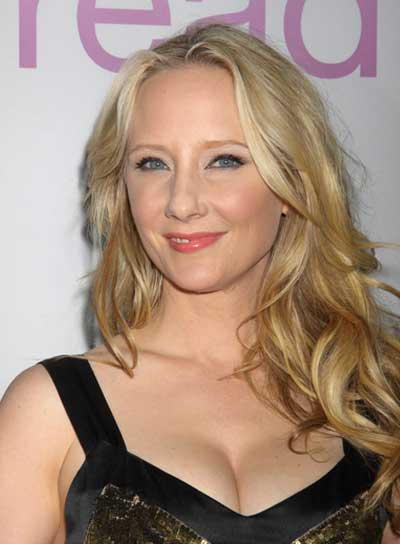 Anne Heche Long, Wavy, Tousled, Blonde Hairstyle