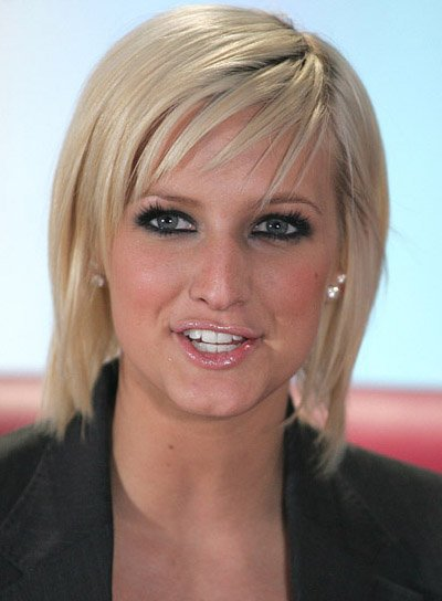 Ashlee Simpson Blond, Blunt Bob with Bangs
