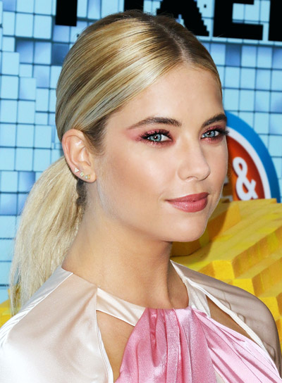 Ashley Benson's Long, Blonde, Straight, Sophisticated, Ponytail Hairstyle