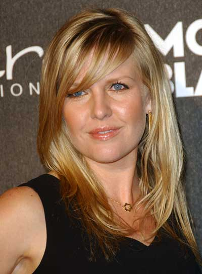 Ashley Jensen Medium, Straight, Blonde Hairstyle with Bangs