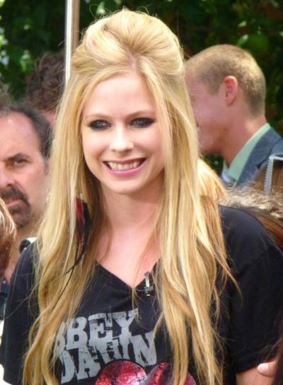 Avril Lavigne Long, Straight, Layered, Blonde Half Updo