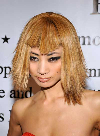 Bai Ling Short Straight Funky Blonde Hairstyle With Bangs