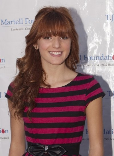 Bella Thorne Curly, Red Half Updo with Bangs