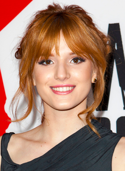 Bella Thorne's Red, Romantic, Updo Hairstyle with Bangs