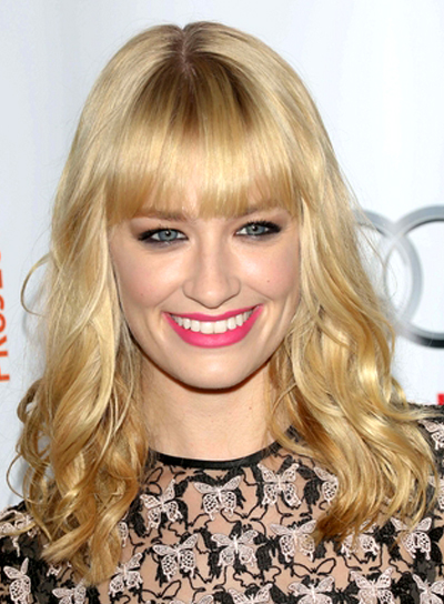 Beth Behr's Long, Blonde, Wavy Hairstyle with Bangs