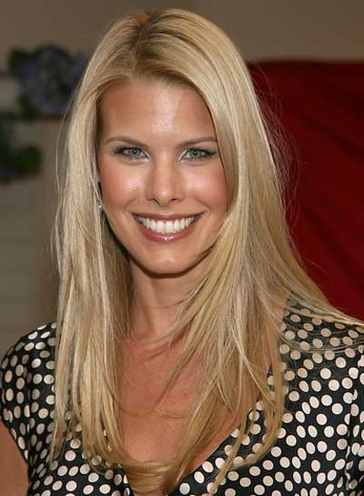 Beth Ostrosky Long, Straight, Layered, Blonde Hairstyle