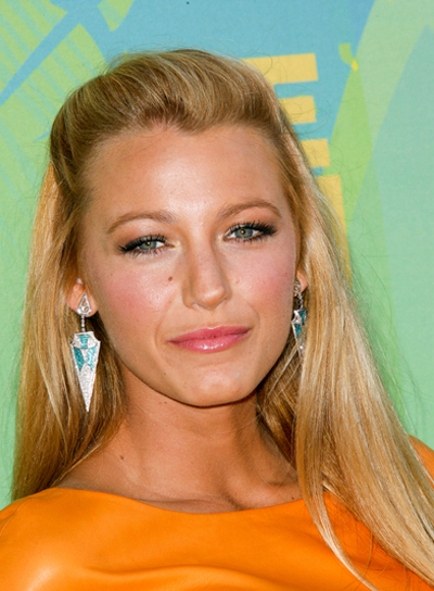 Blake Lively Straight, Sophisticated, Chic, Blonde Half Updo