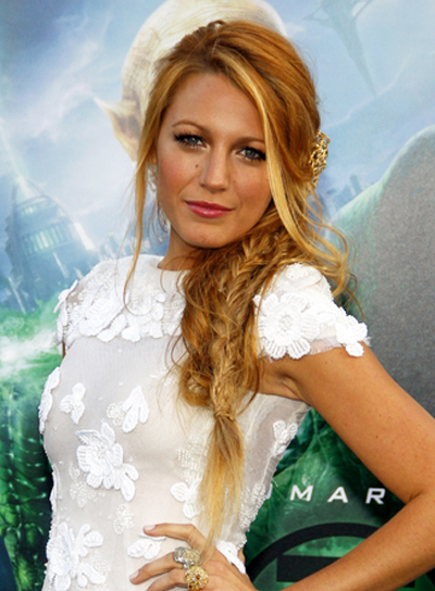 Blake Lively Long, Sexy, Chic, Edgy, Red Hairstyle with Braids and Twists