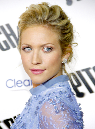 Brittany Snow's Romantic, Curly, Blonde, Updo Hairstyle