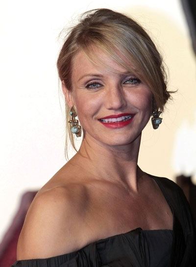 Cameron Diaz Chic, Blonde Updo with Bangs