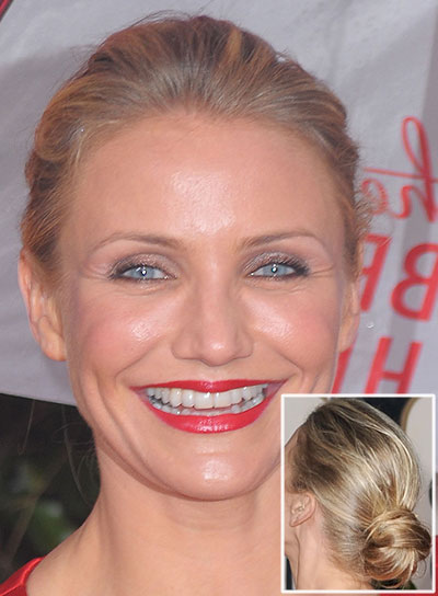 Cameron Diaz Straight, Chic, Blonde Updo