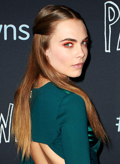 Cara Delevingne's Long, Brunette, Straight, Sophisticated Half Updo Hairstyle