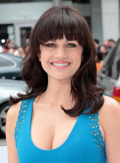 Carla Gugino Medium, Brunette Hairstyle with Bangs