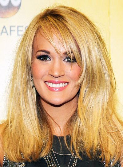 Carrie Underwood's Medium, Straight, Tousled, Blonde Hairstyle with Bangs