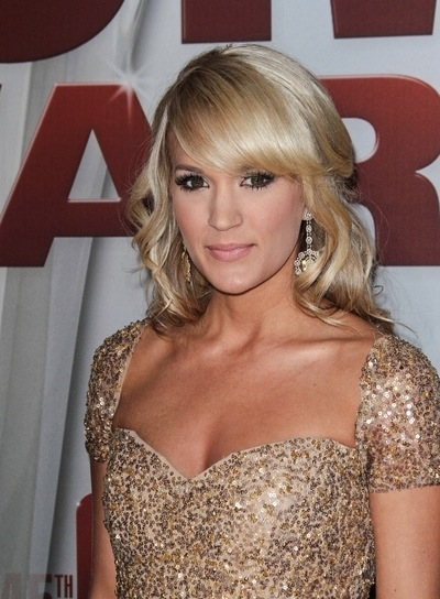 Carrie Underwood Medium, Blonde, Curly Half Updo