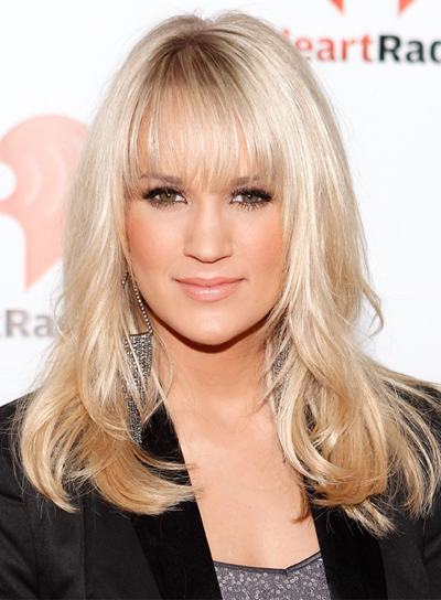 Carrie Underwood Medium, Wavy, Romantic, Blonde Hairstyle with Bangs